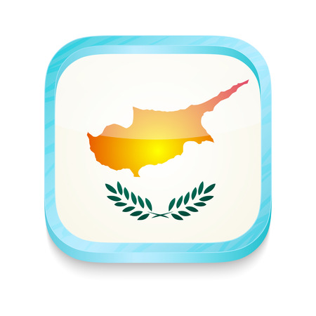 Smart phone button with Cyprus flag Vector