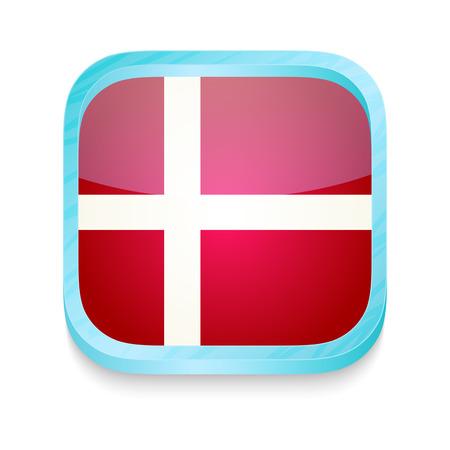 denmark flag: Smart phone button with Denmark flag
