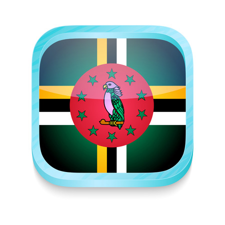 dominica: Smart phone button with Dominica flag