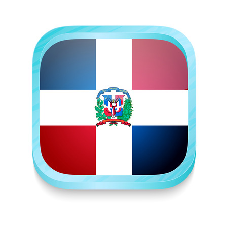 Smart phone button with Dominican Republic flag Vector