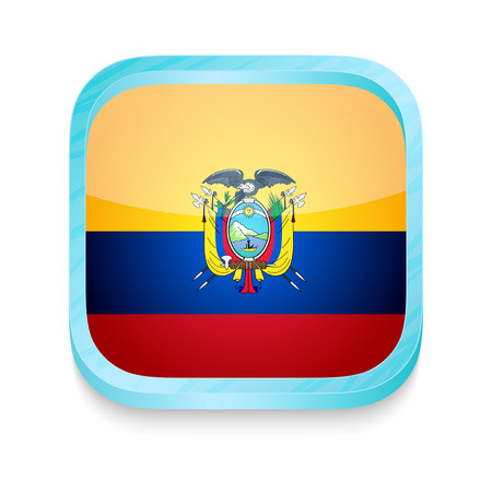 Smart phone button with Ecuador flag Vector