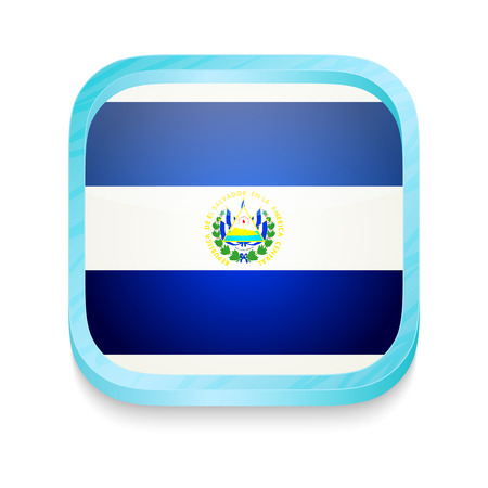 Smart phone button with El Salvador flag Vector