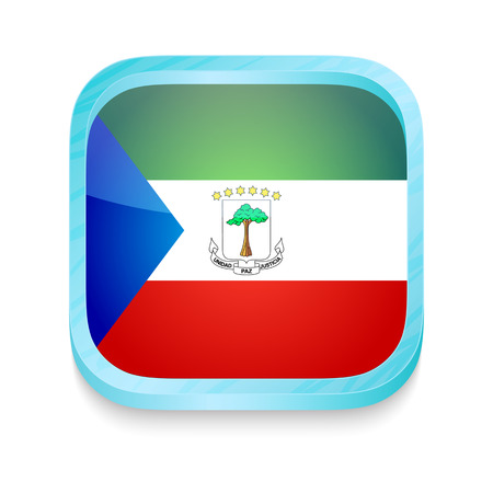 guinea equatoriale: Pulsante smart phone con bandiera Guinea Equatoriale Vettoriali