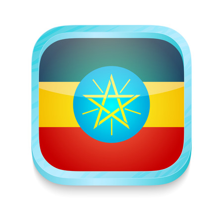 Smart phone button with Ethiopia flag Vector