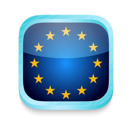 Smart phone button with European Union flag Vector