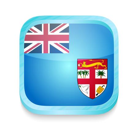 fiji: Smart phone button with Fiji flag