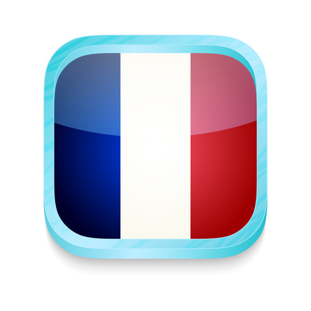 Smart phone button with France flag Vector