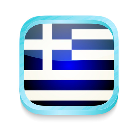 Smart phone button with Greece flag Vector