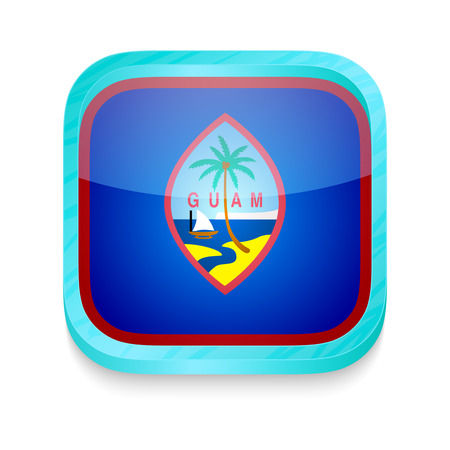 guam: Smart phone button with Guam flag
