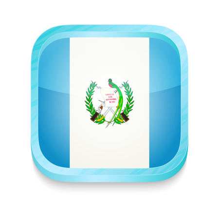 Smart phone button with Guatemala flag Vector
