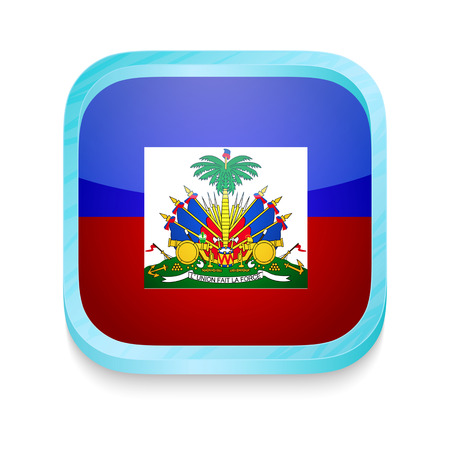 Smart phone button with Haiti flag Vector