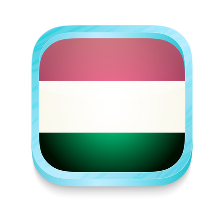 Smart phone button with Hungary  flag Vector