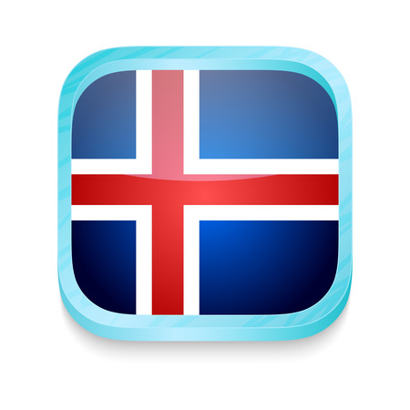 iceland: Smart phone button with Iceland flag