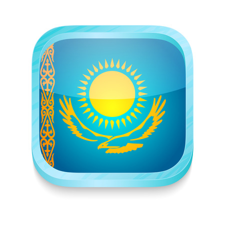 Smart phone button with Kazakhstan flag Vector