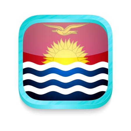 kiribati: Smart phone button with Kiribati flag