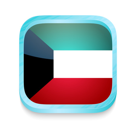 Smart phone button with Kuwait flag Vector