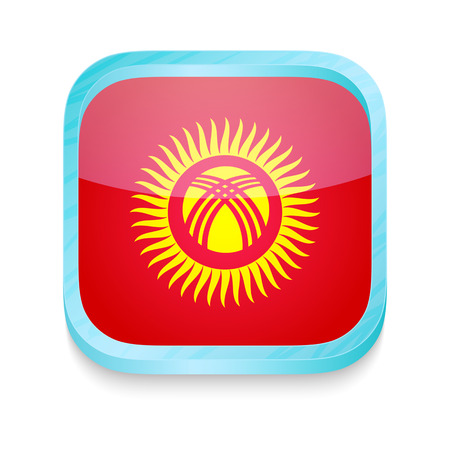 Smart phone button with Kyrgyzstan flag Vector