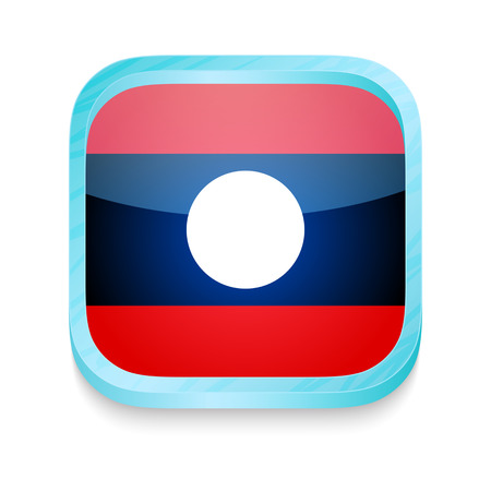 Smart phone button with Laos flag Vector