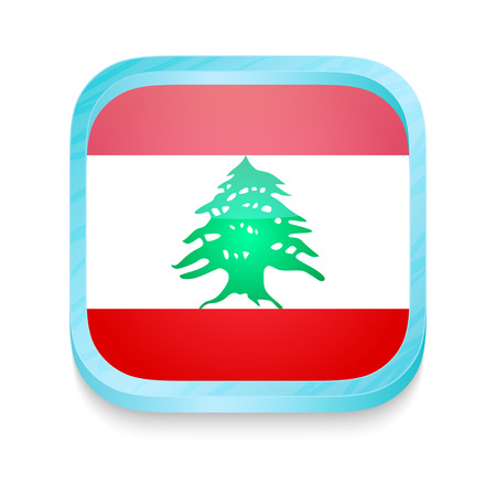 Smart phone button with Lebanon flag Vector