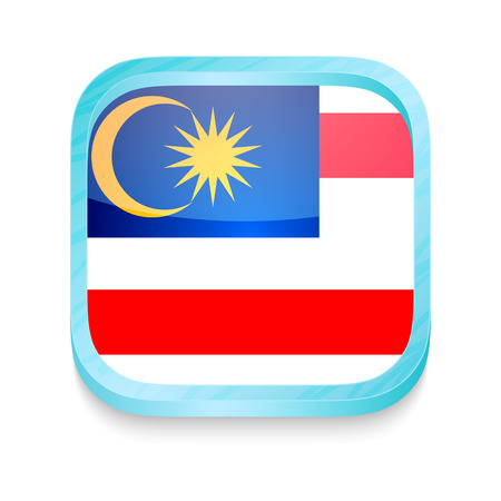 Smart phone button with Malaysia flag Vector