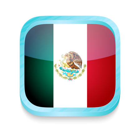 Smart phone button with Mexico flag Vector