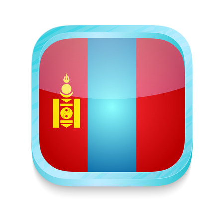 Smart phone button with Mongolia flag Vector