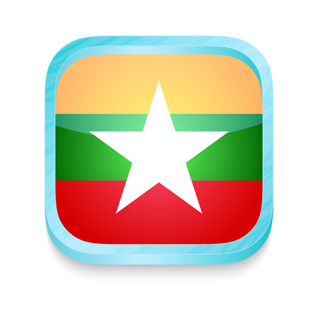myanmar: Smart phone button with Myanmar flag