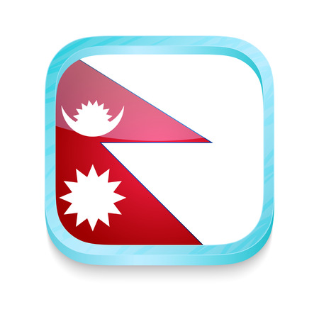 Smart phone button with Nepal flag Vector