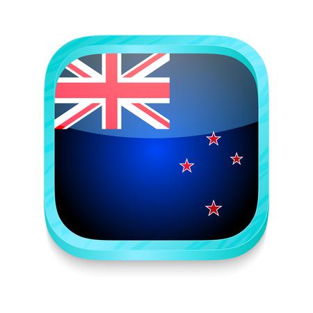 new zealand flag: Pulsante smart phone con la Nuova Zelanda bandiera Vettoriali