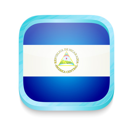 Smart phone button with Nicaragua flag Vector