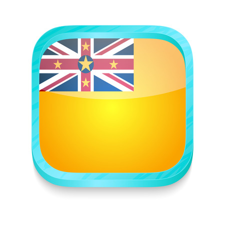 niue: Smart phone button with Niue flag Illustration