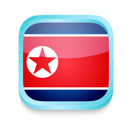 Smart phone button with North Korea flag Vector