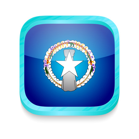 Smart phone button with Northen Mariana Islands flag Vector