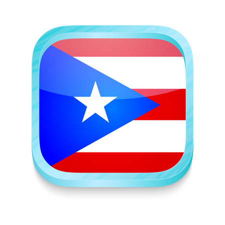 Smart phone button with Puerto Rico flag Vector