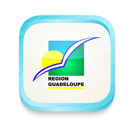 guadeloupe: Smart phone button with Region Guadeloupe flag