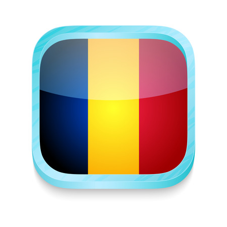 Smart phone button with Romania flag Vector