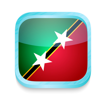 Smart phone button with Saint Kitts and Nevis flag Vector