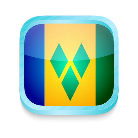 Smart phone button with Saint Vincent and The Grenadines flag Vector