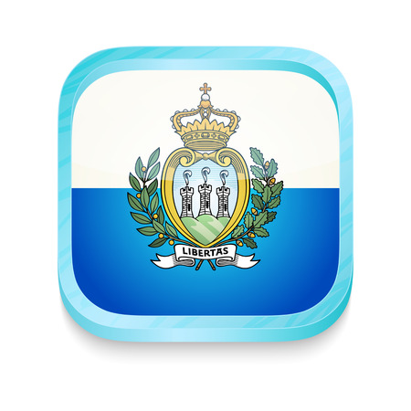 marino: Smart phone button with San Marino flag