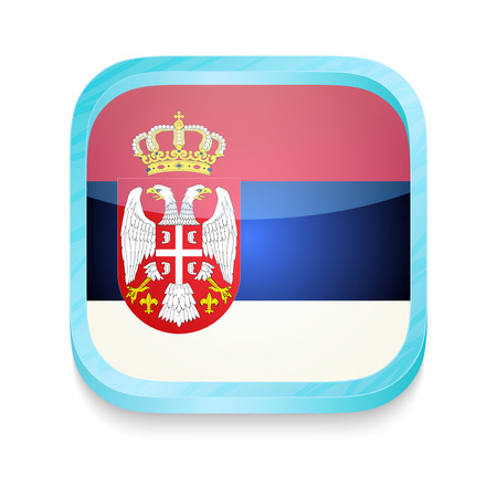 Smart phone button with Serbia flag Vector