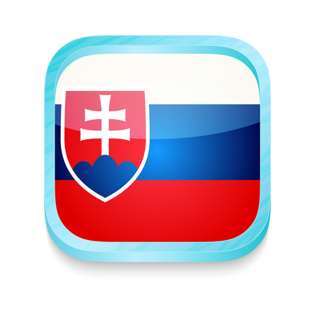slovakia flag: Smart phone button with Slovakia flag Illustration