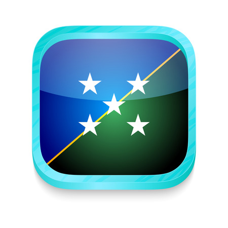 Smart phone button with Solomon Islands flag Vector