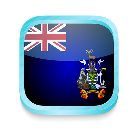 Smart phone button with South Georgia and South Sandwich Islands flag Vector