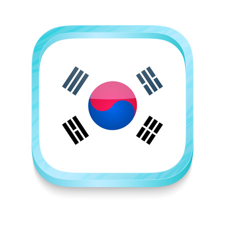 Smart phone button with South Korea flag Vector