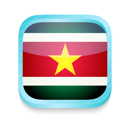 Smart phone button with Suriname flag Vector