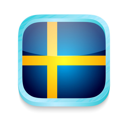 Smart phone button with Sweden flag Vector