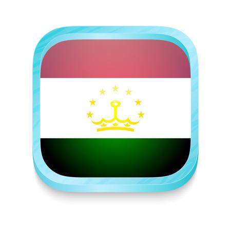 Smart phone button with Tajikistan flag Vector