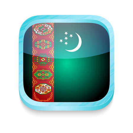 Smart phone button with Turkmenistan flag Stock Vector - 22198416