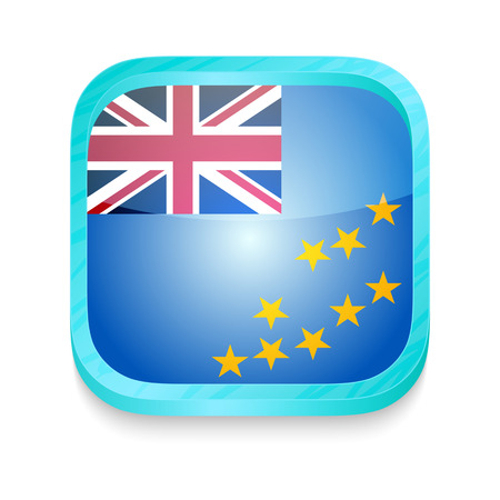Smart phone button with Tuvalu flag Vector