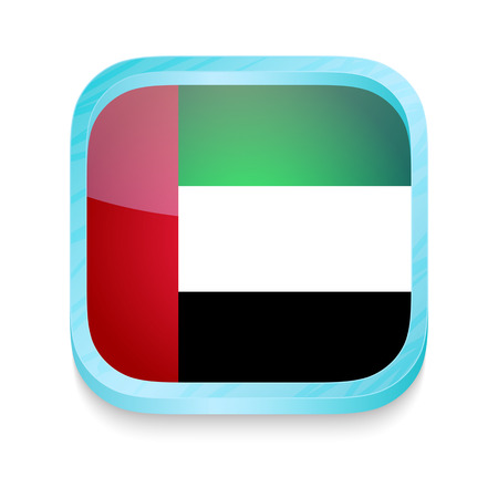 Smart phone button with United Arab Emirates flag Vector